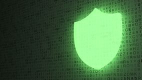 Green shield glowing on letter background Stock Photos