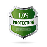 Green shield protection vector icon. On white background Royalty Free Stock Photos