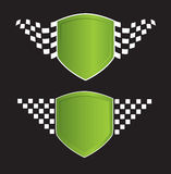 Green shield with racing sign on the black Stock Photos