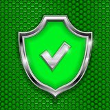 Green shield sign. Accept 3d symbol on green perforated background. Vector illustration Royalty Free Stock Image