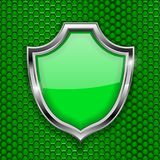 Green shield sign. Accept 3d symbol on green perforated background. Vector illustration Royalty Free Stock Photography
