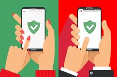 Green Shield on smartphone screen. Male and female Hands hold the smartphone and finger touches screen. icon concept of Web Access royalty free illustration