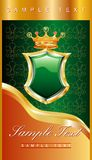 Green shield label stock photo