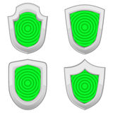 Green shields set with stripes isolated Stock Image