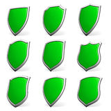 Green shields on white set Stock Photo
