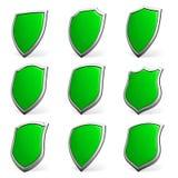 Green shields on white set Stock Photo