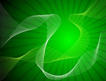 Green shine background with white and yellow waves Stock Photo
