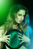 Green shine on vertical photo of a nice girl Royalty Free Stock Images
