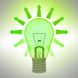 Green shining bulb ecology concept with arrows Royalty Free Stock Image