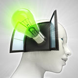 Green shining bulb invention coming out or in human head through window concept Stock Photo