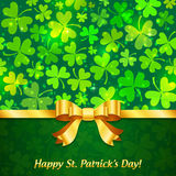 Green shining clovers Patrick's Day greeting card Stock Image