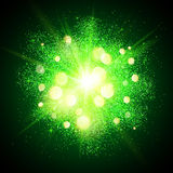Green shining fireworks explosion at black. Green shining vector fireworks explosion at black background Stock Image