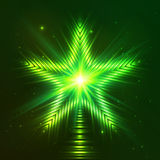Green shining five-pointed star Stock Photos