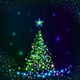 Green shining lights vector Christmas tree Stock Photography