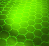 Green shiny abstract technical or scientific background. Green abstract technical or scientific  shiny background with graphene molecular structure Stock Photo
