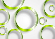 Green shiny circles on white background Stock Photo