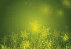 Green shiny floral background. Illustration stock illustration