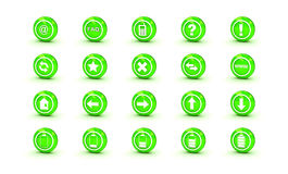 Green  shiny gloss icons for web design Stock Images