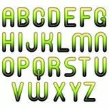 Green shiny glossy 3d  bubble alphabet. Green shiny glossy 3d child funny bubble alphabet Royalty Free Stock Image