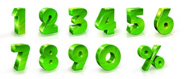 Green shiny numbers and percent sign set. 3d styled illustration. Numbers 1, 2, 3, 4, 5, 6, 7, 8, 9, 0 and percent sign Set Suitable for use on web and Royalty Free Stock Photography