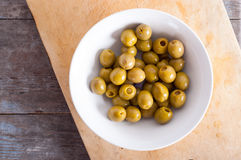 Green shiny olives Royalty Free Stock Image