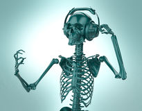 Green shiny plastic skeleton in big earphones posing isolated on light background.  rendering party poster template Royalty Free Stock Photos