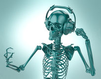 Green shiny plastic skeleton in big earphones posing isolated on light background.  rendering party poster template Stock Photo