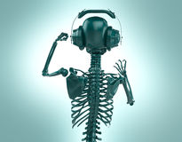 Green shiny plastic skeleton in big earphones posing isolated on light background.  rendering party poster template Stock Images
