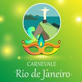 Green Rio carnival background with festive mask. Green shiny Rio De Janeiro carnival background with festive mask. Vector illustration Royalty Free Stock Photo