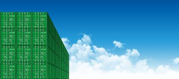 Shipping Cargo Containers for Logistics and Transportation. Green Shipping Cargo Containers for Logistics and Transportation. Perspective view Stock Photo