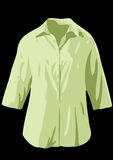 Green Shirt. Vector illustration - shirt with long sleeves on the black bakground Royalty Free Stock Images