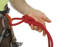 Green shirt and rope knot Stock Photo