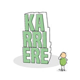 Green shirted doodle figure scratches his head. And stands with one arm on hip as he stares at the german career text built of stack letters Royalty Free Stock Image