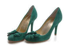 Green shoes Stock Images