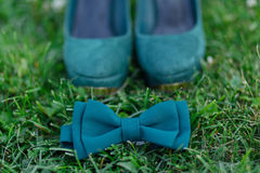 Green shoes and a butterfly on the grass Royalty Free Stock Images