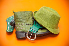 Green shoes, green hat and belt stock images