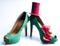 Green shoes with Hat and bow tie. Stock Photos