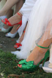 Green shoes for wedding Stock Image