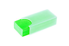 Green shool eraser. Isolated on white background Stock Images