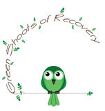 Green shoots of recovery. Twig text isolated on white background Royalty Free Stock Photo