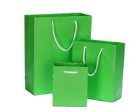 Green Shopping Bag gift bag Stock Photo