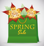 Green Shopping Bag with Orchids for Spring Season, Vector Illustration Stock Photography