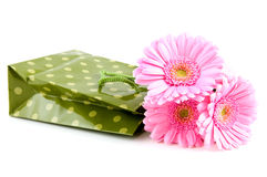Green shopping bag with pink gerber Royalty Free Stock Photo