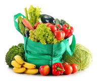 Green shopping bag with variety of fresh organic vegetables Royalty Free Stock Photos