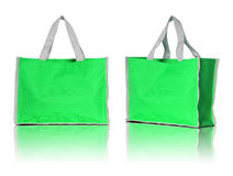 Green shopping bag on white background Royalty Free Stock Photography