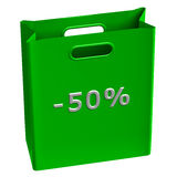 Green shopping bag with word -50%. Isolated on white background. 3D render royalty free illustration
