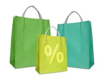 Green shopping bags Royalty Free Stock Images