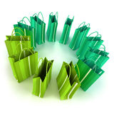 Green shopping  bags circle Royalty Free Stock Photography