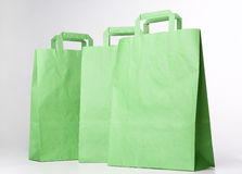 Green shopping bags. Stock Photo