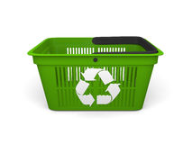Green shopping basket Stock Images